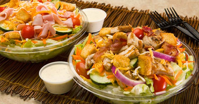 Photograph of chicken salad and side of homemade ranch dressing