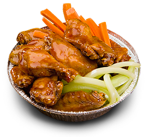 Photograph of an order of Wings with carrots and celery.